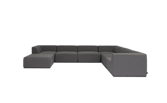Relax Modular 7 U-Sofa Chaise Sectional Furniture - Flanelle by Blinde Design