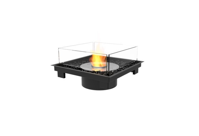Square 22 Fireplace Insert - Ethanol / Black / Indoor Safety Tray by EcoSmart Fire