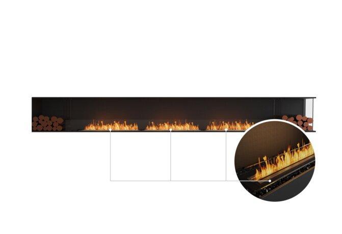 Flex 158RC.BX2 Right Corner - Ethanol - Black / Black / Installed View by EcoSmart Fire